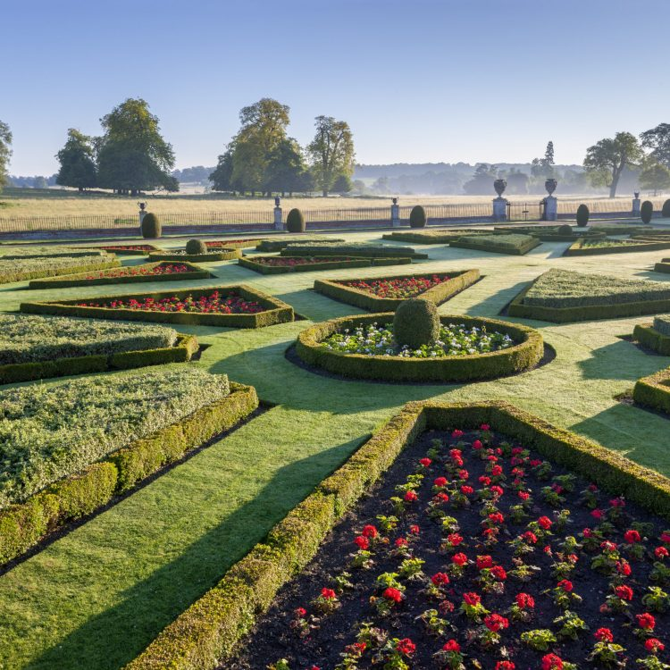 The Parterre seen in July at Wimpole Hall, Cambridgeshire.