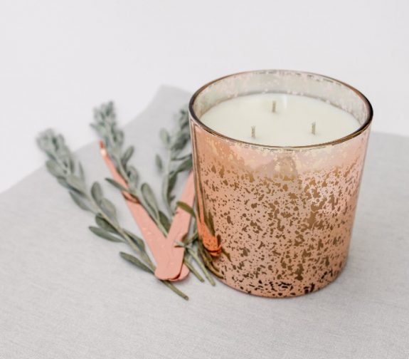 Hand poured scented three wick candle
