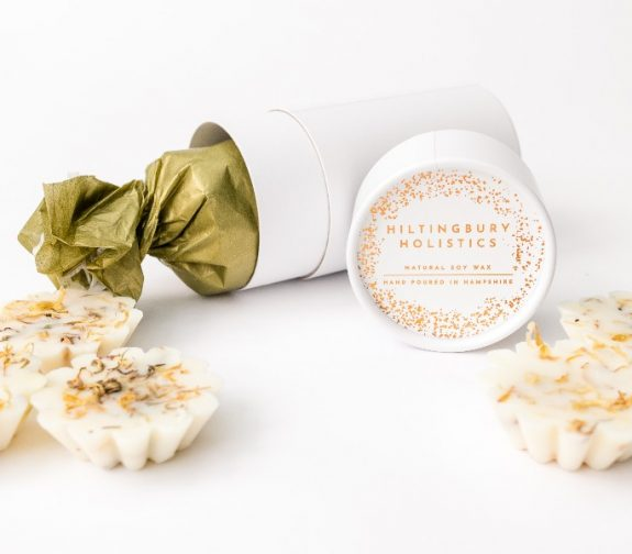 Hand poured scented soy wax tarts with dried botanicals